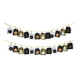 Adventinaptár 20' textil fekete-arany 260cm 24zsebbel