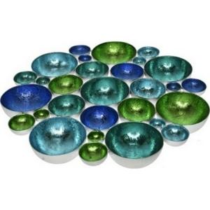 Asztali fali mécsestartó kerek 30x30x3cm kék/türkiz fém