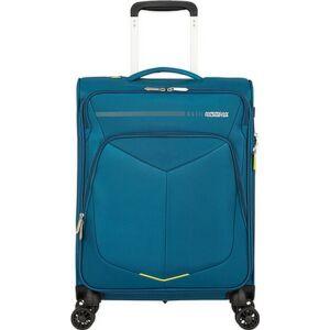 American Tourister kabinbőrönd Summerfunk 55/20 bővíthető bőrönd 124889/2824 kékeszöld, 4 kerekű, textil