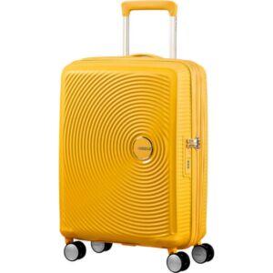 American Tourister kabinbőrönd Soundbox 55/20 bővíthető bőrönd 88472/1371-Golden Yellow, 4 kerekű