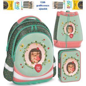 Iskolatáska szett Ars Una Cute and Wild Sünis szett iskolatáska - tolltartó - tornazsák