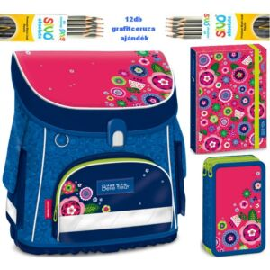 Iskolatáska szett Ars Una La Belle Fleur kék virágos +12db ceruza iskolatáska, tolltartó, A/4 füzetbox