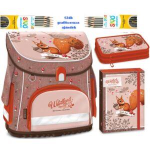 Iskolatáska szett Ars Una Woodland mókus ajándék ceruza iskolatáska, tolltartó, füzetbox + 12db