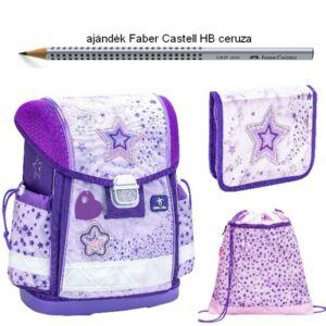Iskolatáska szett Belmil 21' iskolatáska - tolltartó - tornazsák Shining Star Purple - csillag