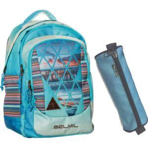 Iskolatáska szett Belmil iskolatáska, tolltartó, tornazsák Blue Lagoon