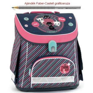 Iskolatáska Ars Una kompakt Think Pink - cicás 18' kompakt mágneszáras Prémium kollekció