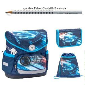 Iskolatáska szett Belmil 21' iskolatáska - tolltartó - tornazsák Race Blue-Autós