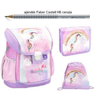 Iskolatáska szett Belmil 21' iskolatáska - tolltartó - tornazsák Rainbow Unicorn - unikornis