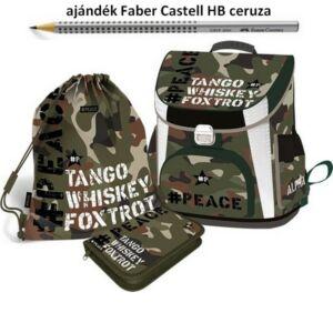 Iskolatáska szett Lizzy #Peace-Alpha-Tango-Mike 21' táska+tolltaró+tornazsák Lizzy kollekció
