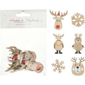 Karácsonyi matrica fából 5cm 8db/csomag