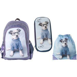 Iskolatáska szett Paso iskolatáska - tolltartó - tornazsák Kék kutya