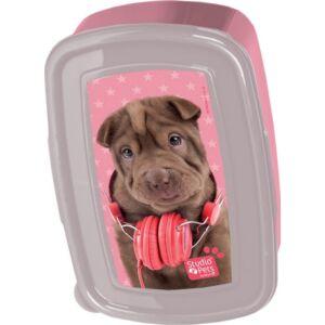 Uzsonnás doboz Paso csokibarna kutya fülhallgatóval Rachael Hale