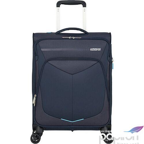 American Tourister kabinbőrönd Summerfunk 55/20 bővíthető bőrönd 124889/1596 tengerkék, 4 kerekű, textil