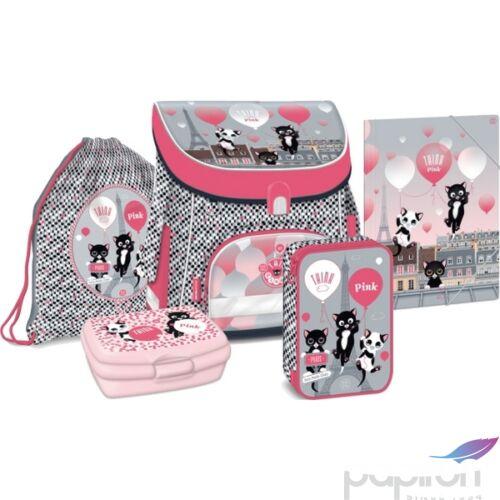 Iskolatáska szett Ars Una 20 Think Pink-iskolatáska, tolltartó Kulacs, tornazsák,mappa, uzsonnás doboz