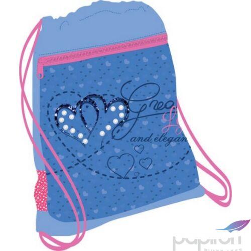 Tornazsák Belmil 21' Cool Bag Jeans Heart szíves szívecskés 336-91 43x45cm hálós sportzsák Gym Bag
