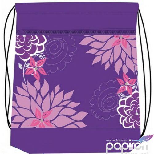 Tornazsák Belmil Flower virágos lila pink 336-91 43x45cm hálós sportzsák Gym Bag
