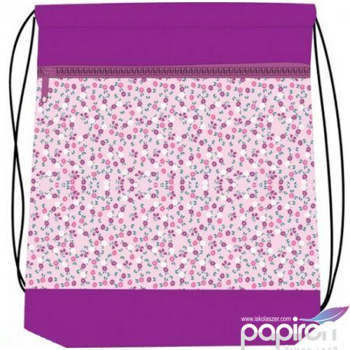 Tornazsák Belmil 20 Very Chic virágos, rózsaszín 336-91 43x45cm hálós sportzsák Gym Bag