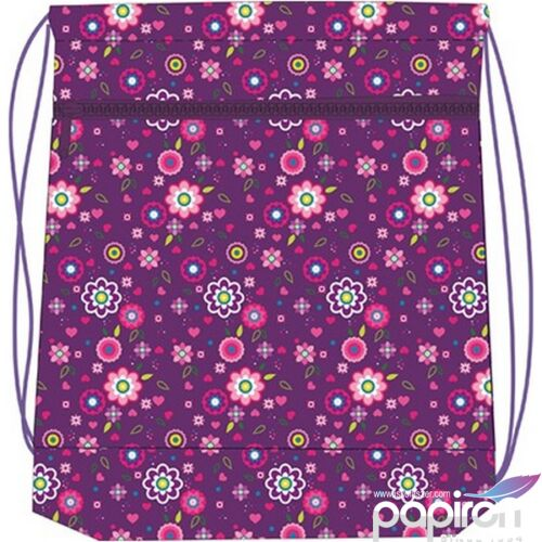 Tornazsák Belmil 20 Violet szívecskés, szíves-virágos lila 336-91 43x45cm hálós sportzsák Gym Bag