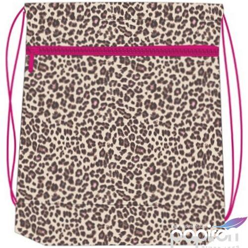 Tornazsák Belmil 20 ZOE leopárdos, pink-barna mintás 336-91 43x45cm hálós sportzsák Gym Bag